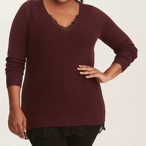 Plus Size Torrid LACE TRIMMED RIBBED KNIT SWEATER